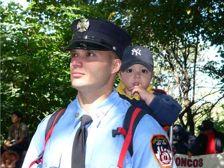 Firefighter at the annual memorial for other firefighters who perished. (Arnow photo)