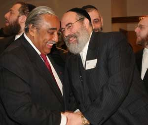 Congressman Charles Rangel and Rabbi Leib Glanz. Photo by Pat Arnow