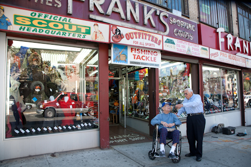 Frank's Sports Shop  was here when Irv grew up here. Frank's son, Moe Stein, 83, still runs the place. Photo by Pat Arnow