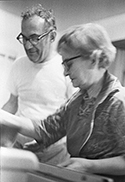 Harold and Harriette Arnow at home in Ann Arbor, cooking, 1972. Photo by Pat Arnow. © 2012. All rights reserved